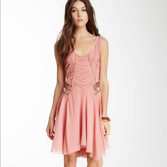 Free People Dresses & Skirts - [Free People] POP CHAMPAGNE BEADED DRESS